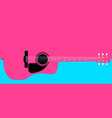pink acoustic guitar background vector image