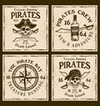 pirates four colored emblems or t-shirt prints vector image vector image