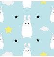 rabbit hare head hands cloud star shape cute vector image vector image