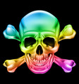 rainbow skull and crossbones on black background vector image vector image