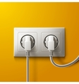 Realistic electric white socket and 2 plugs on vector image