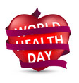 red heart wrapped with a satin ribbon to the world vector image