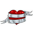 red heart wrapped with ribbon banner hand drawn vector image vector image