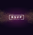 rsvp gold glitter invitation for event vector image