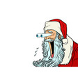 santa claus with bulging eyes a surprise reaction vector image vector image