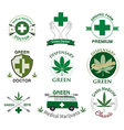 set cannabis and marijuana vector image vector image