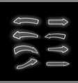 set of different neon white arrows vector image vector image