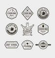 set vintage cooking classes logos retro styled vector image