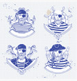 sketch set pirate vector image vector image