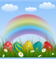 spring background with rainbow green grass vector image