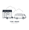 tiny house on wheels - minivan and trailer hovel vector image vector image