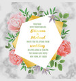 wedding invitation with flowers and greenery on vector image