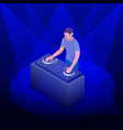 young hipster dj mixing music on the turntables vector image vector image