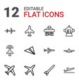 12 airplane icons vector image vector image