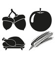 4 black and white harvest silhouette elements set vector image