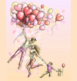 a happy family travels on pink heart-shaped balloo vector image