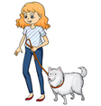 A smiling woman and a dog vector image vector image