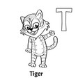 alphabet letter t coloring page tiger vector image vector image