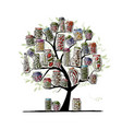 art tree with pickle jars for your design vector image