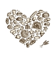 Bakery concept love heart sketch for your design vector image vector image