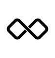 black infinity symbol icon rectangular shape with vector image