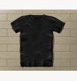 black realistic slim male t-shirt blank t-shirt vector image vector image