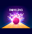 bowling club poster with the bright background vector image vector image
