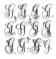 calligraphy lettering script font g set hand vector image vector image