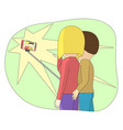 cartoon couple making a selfie vector image vector image