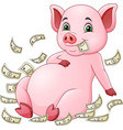 cartoon pig and flying money vector image