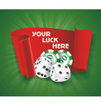 casino background with chips craps and advertising vector image