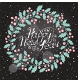 christmas wreath with wish a happy new year vector image vector image