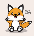 color background with cute kawaii animal fox vector image vector image