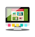computer with colorful papers and web design on vector image vector image