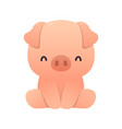 cute pig cartoon sitting on white vector image