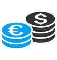 Dollar and Euro Coin Stacks Flat Icon vector image
