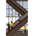 escalator in the airport building vector image vector image