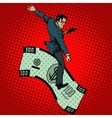 Financial Rodeo businessman riding a dollar vector image