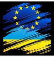 Flag Ukraine and European Union in the form traces vector image