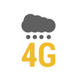 flat 4g logo with signal dots and cloud vector image