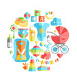 flat infancy round baby infancy products t vector image vector image