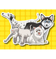 Four cute dogs on yellow background vector image vector image