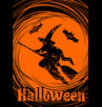grungy halloween background with halloween witch vector image