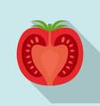 half tomato icon flat style vector image vector image