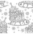 hand drawn christmas doodle sketch sledge vector image vector image