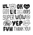 hand drawn set with short phrases vector image