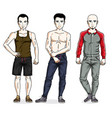 handsome young men standing in stylish sportswear vector image vector image