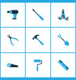 handtools icons colored set with drill vector image vector image
