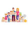 happy family move into new home place flat vector image vector image