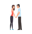 happy young man and woman looking at each other vector image